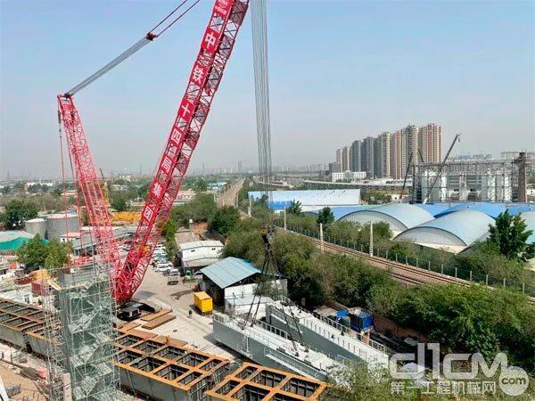 三一SCC8000A履带起重机在京广特大桥49至52号桥墩处吊装施工