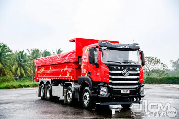 上汽红岩杰虎H6 8×4 LNG自卸车