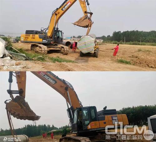 徐工挖掘机正在现场施工