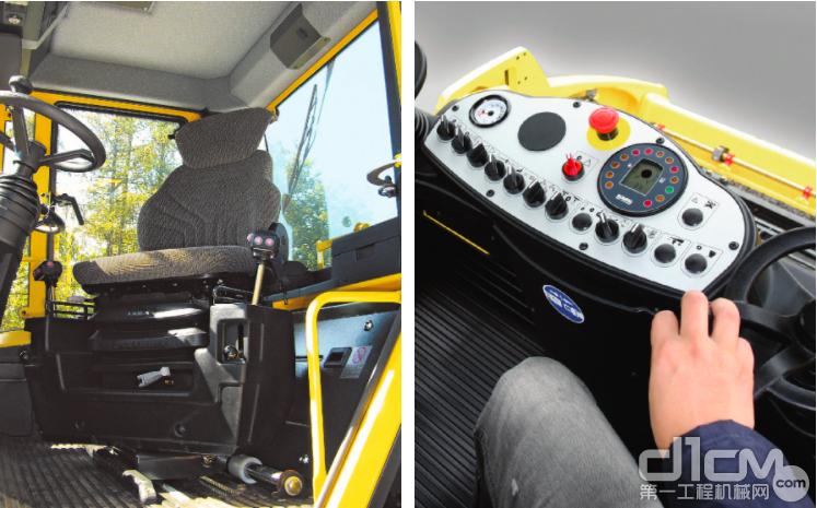 引领行业标准的1m×1m的可视范围的驾驶室以及融入了更多控制功能的控制手柄