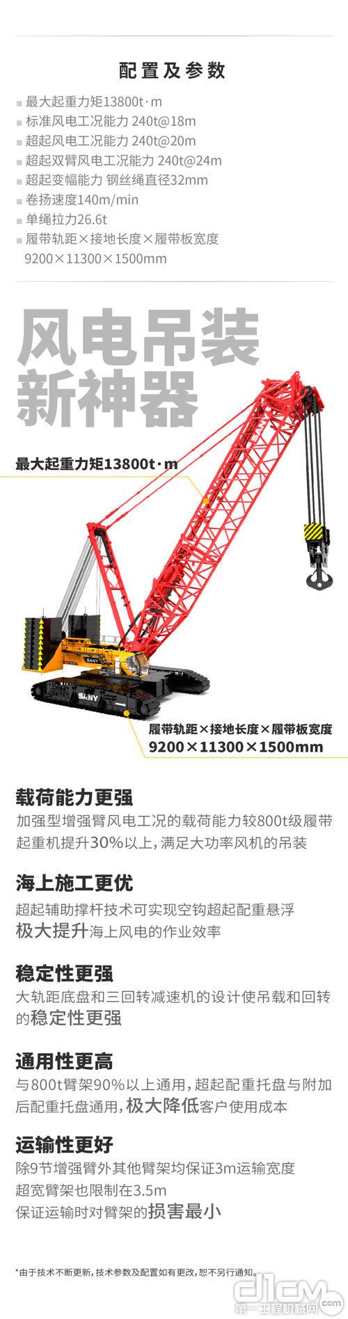 三一SCC13800TM起重机参数介绍