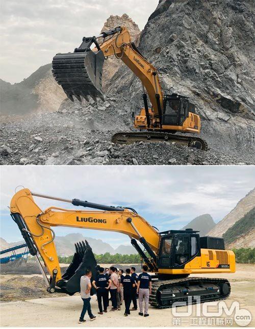 柳工952EHD挖掘机在施工场地