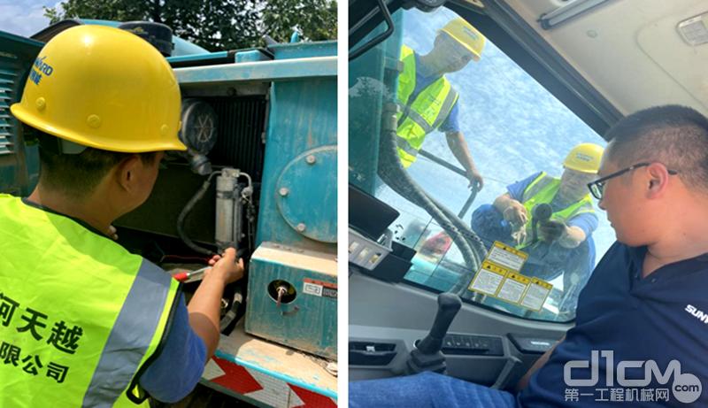 山河智能服务工程师为客户检修设备