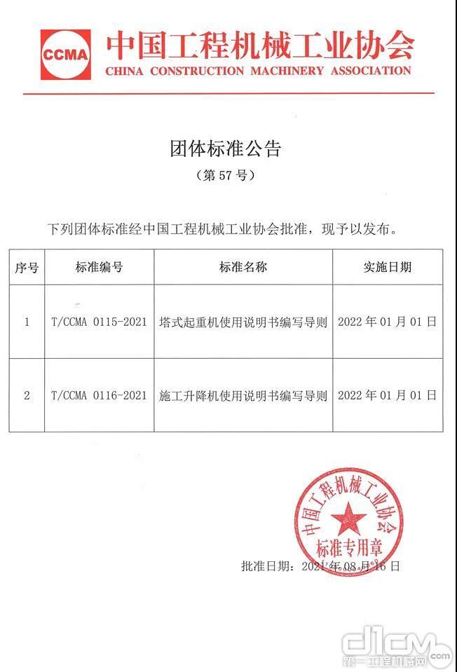 中国工程机械工业协会团体标准公告(第57号)