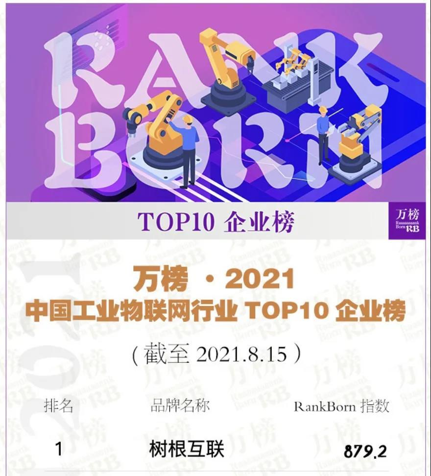 """树根互联领衔""""2021中国工业物联网行业TOP10"""""""