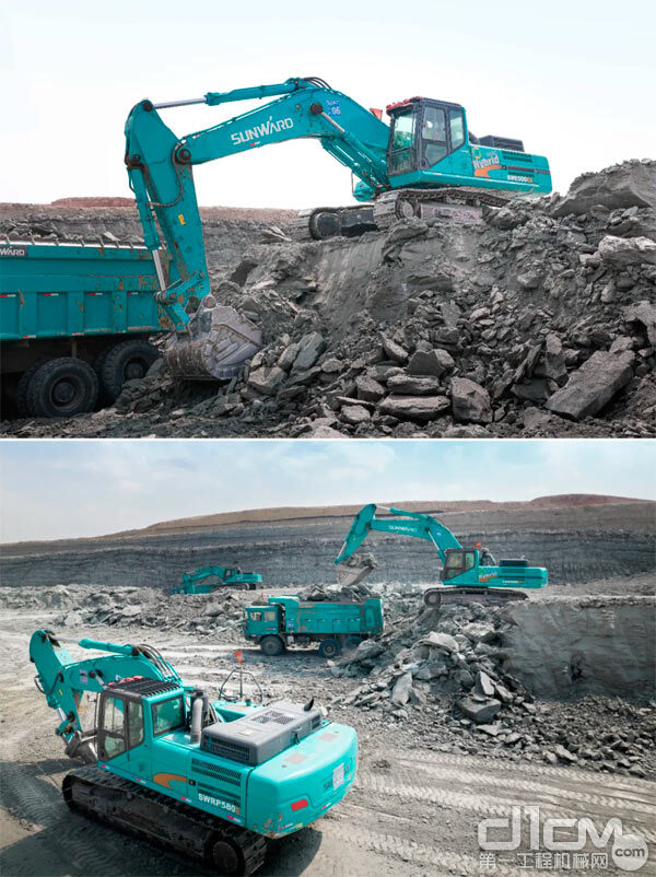 SWE500ES挖掘机+SWK90宽体自卸车联合挖运作业