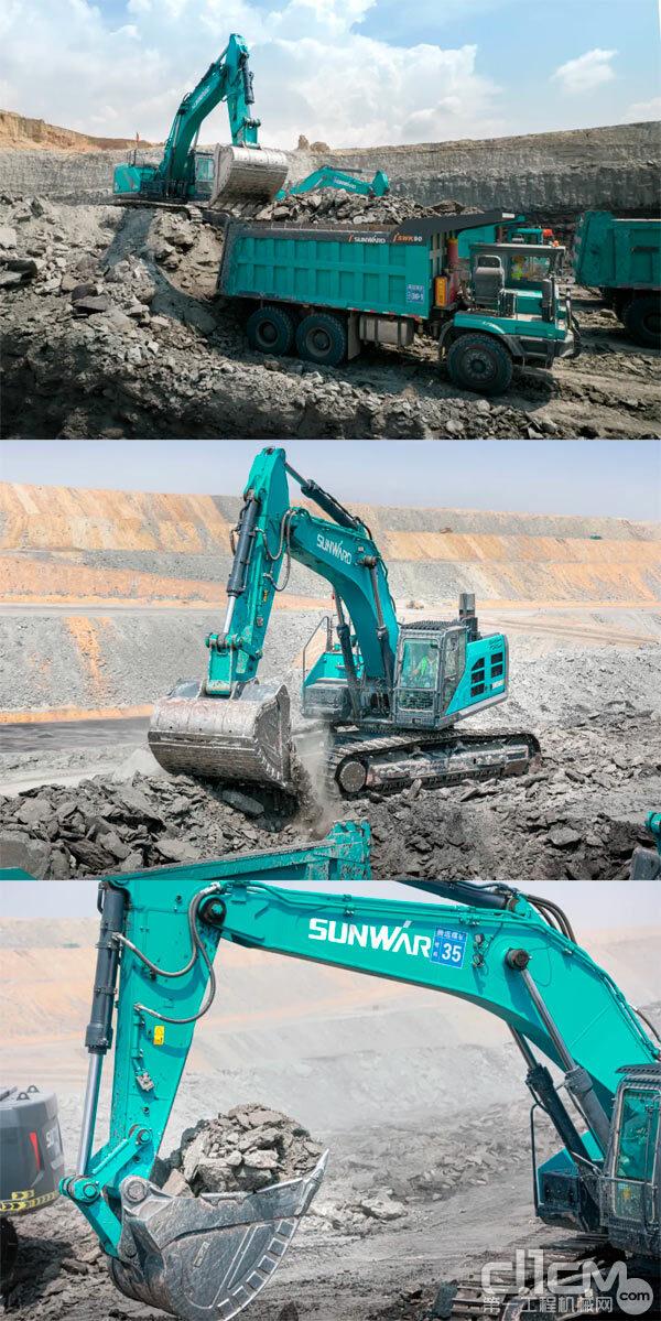 SWE600F挖掘机+SWK90宽体自卸车联合挖运作业