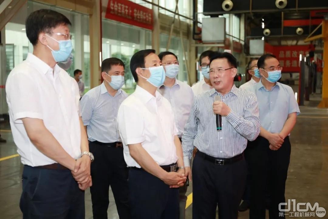 湖南省委书记、省人大常委会主任许达哲一行来到三一娄底中兴产业园调研