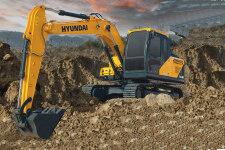 现代R130VS履带挖掘机施工现场全部图片