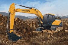 现代R215VS履带挖掘机施工现场全部图片