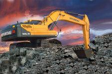 现代R305LVS履带挖掘机施工现场全部图片