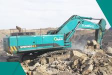 山河智能SWE900ES混合动力挖掘机施工现场全部图片