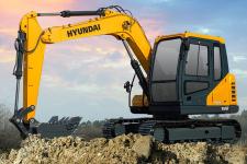 现代R75VS履带挖掘机施工现场全部图片