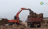 晋工轮挖夹树皮工况