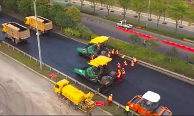 维特根设备震撼工地直击:绵阳二环路道路维修施工视频